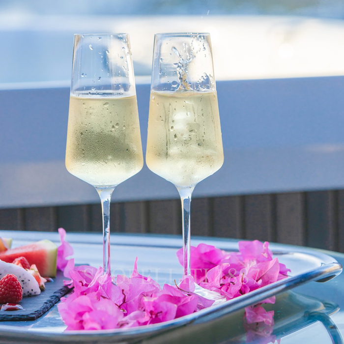 champagne flutes on luxury yachts