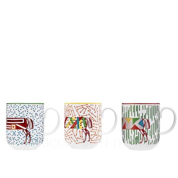 hermes hippomobile set of 3 mugs