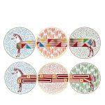 hermes hippomobile set of 6 dessert plates