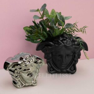 versace medusa vase black and silver