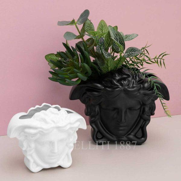 versace medusa vase white and black