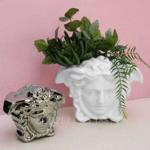 versace medusa vase white and silver