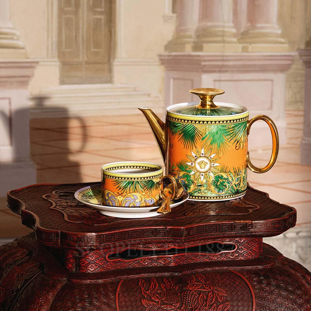 versace tea cup and teapot jungle