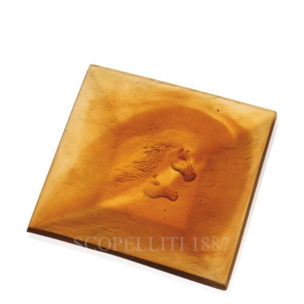 daum cavalcade crystal tray amber