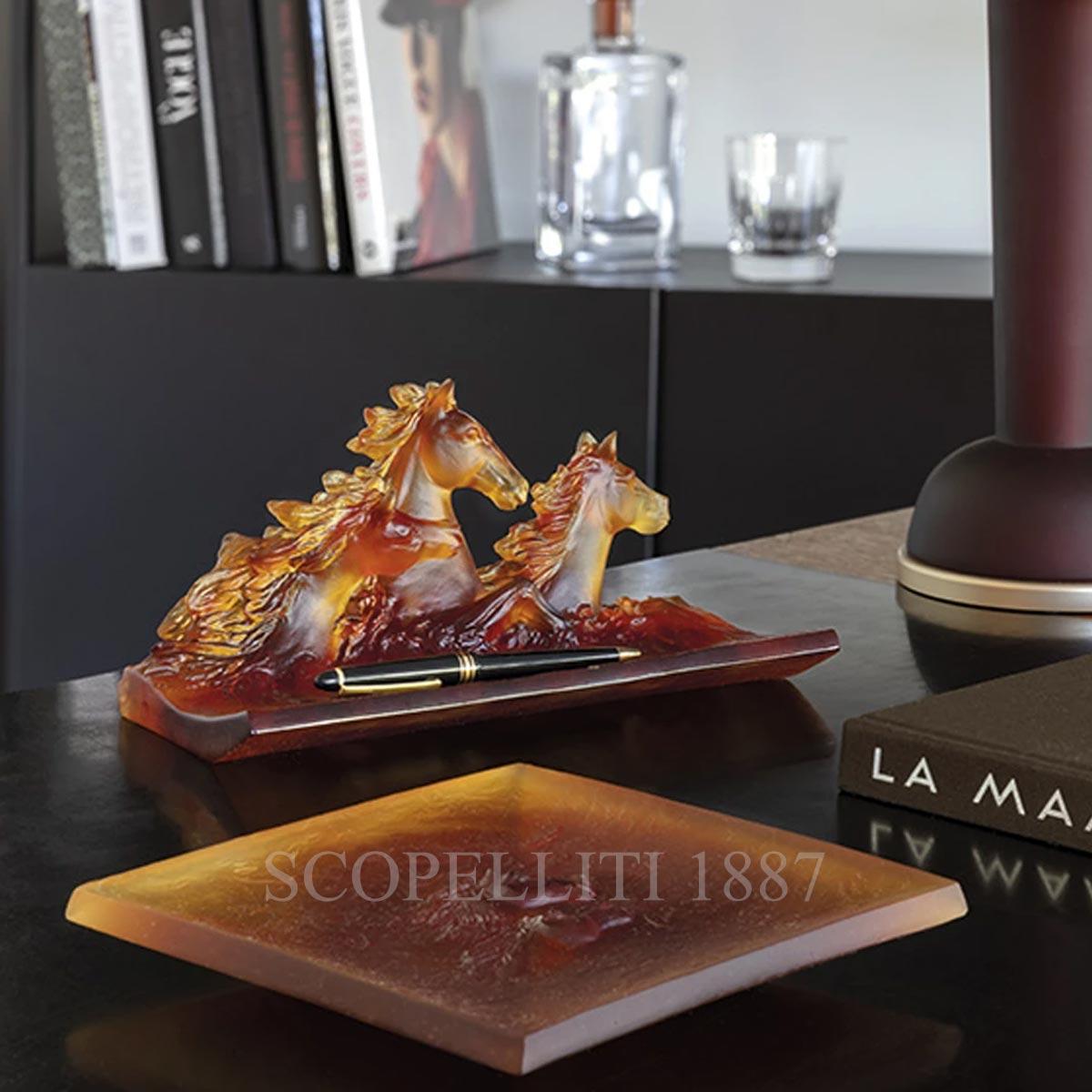 daum cavalcade crystal tray amber with horses