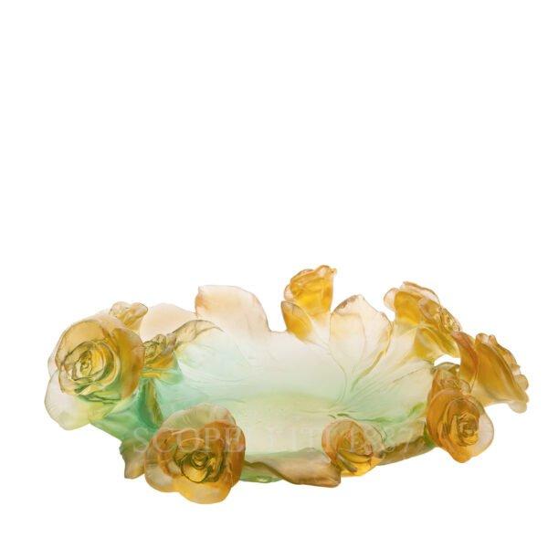 daum crystal bowl rose passion green orange