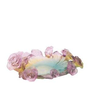daum rose passion green and pink bowl