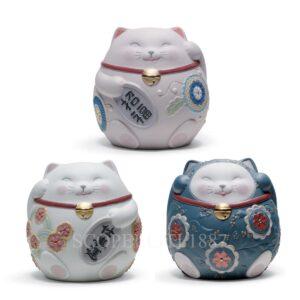 lladro set of 3 maneki neko figurines