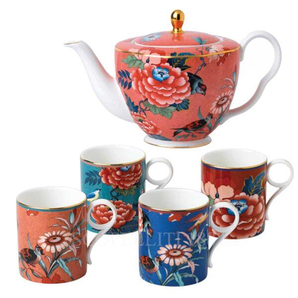 wedgwood paeonia blush set of 4 mugs and teapot