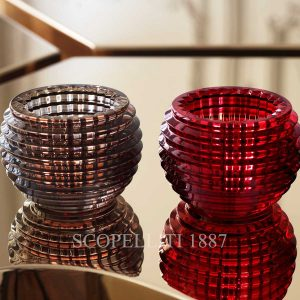 baccarat eye votive set grey and red