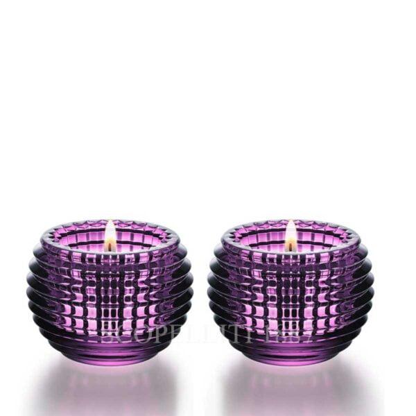 baccarat eye votive set purple