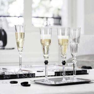 baccarat harcourt eve set 2 flutes clear and black