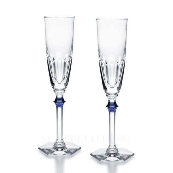 baccarat harcourt eve set 2 flutes clear blue