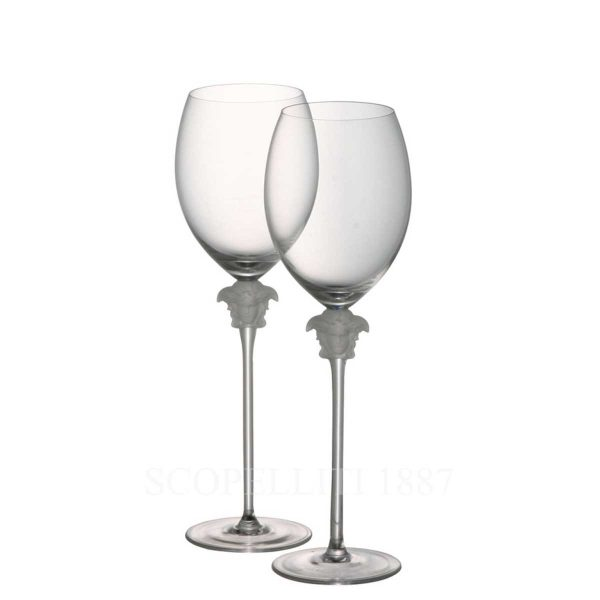 versace medusa lumiere set two red wine glasses