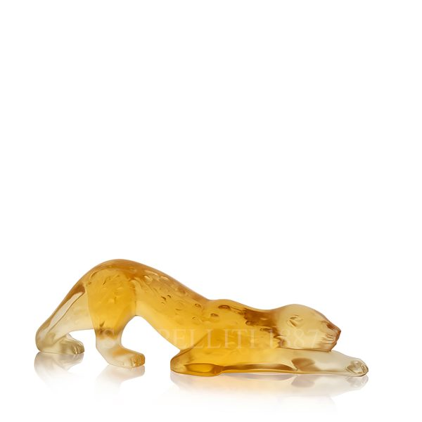 lalique panther crystal figurine amber